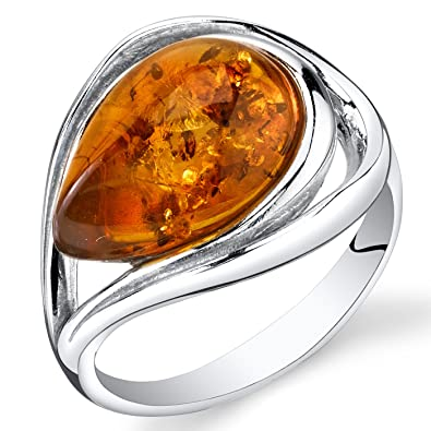 Amber Sterling Silver Drop Ring drivKl3Qd