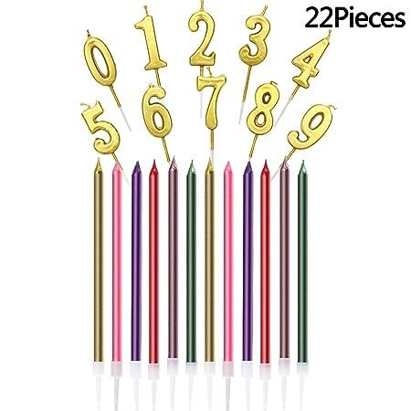 Maitys - Paquete de 22 Velas para Tarta de cumpleaños o Boda ...