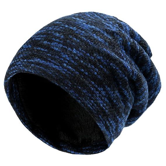Vbiger Caliente Invierno Sombrero de Punto Gorrita Tejida para Hombres y  Mujeres (Azul) c0419c1b4ae
