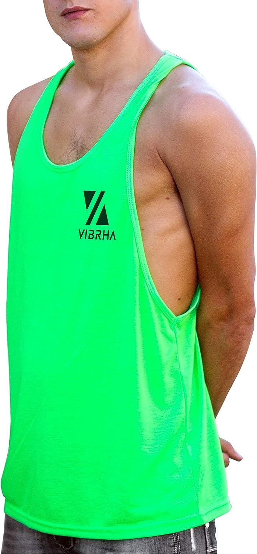 Vibrha Canotta Bodybuilding Uomo da Palestra Canottiera Fitness Fluo Lunga Con Dorso a Vogatore
