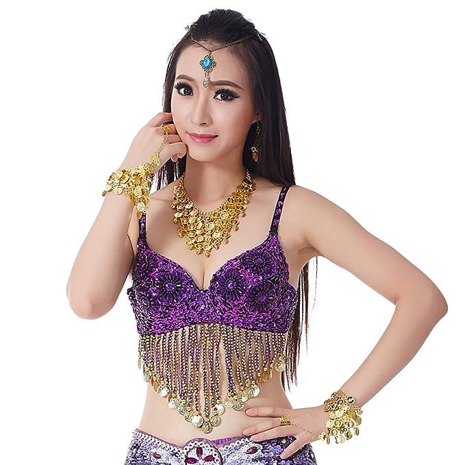 YouPue Falda larga traje de danza del Belly Dance soporte ...