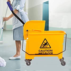 Ridgeyard 20L(21 Quart) Side Press Mop Bucket with Wringer 4 Smooth-rolling Wheels Combo Bucket for Home Use