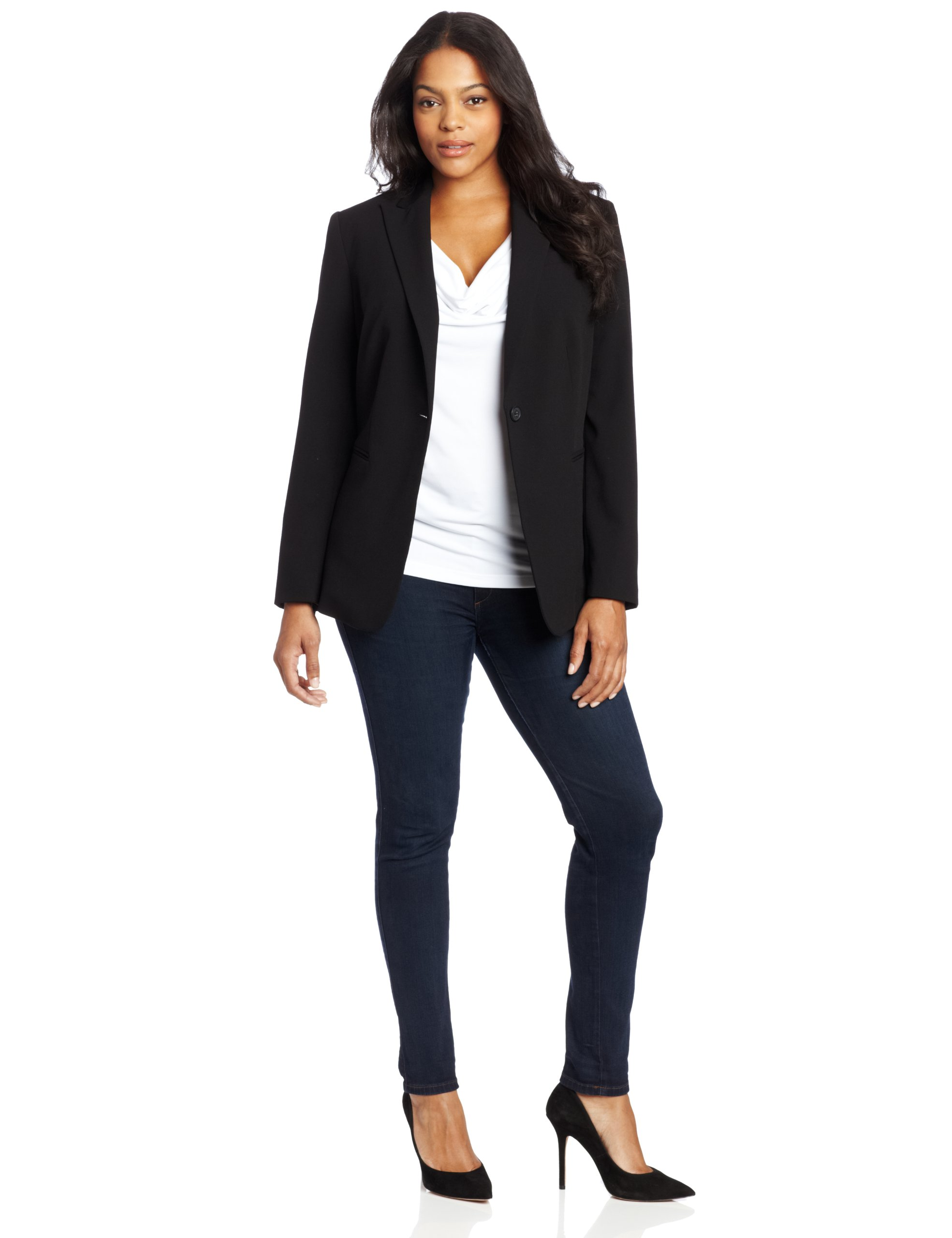 Calvin Klein Women's Plus-Size 1 Button Jacket, Black, 22W