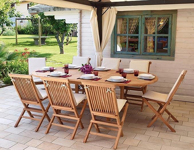 Offerte Tavoli Da Giardino In Teak.Import Set Pranzo Da Giardino In Legno Teak Con Tavolo Sedie E