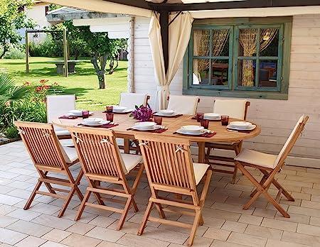 Sedie Da Esterno Legno.Import Set Pranzo Da Giardino In Legno Teak Con Tavolo Sedie E