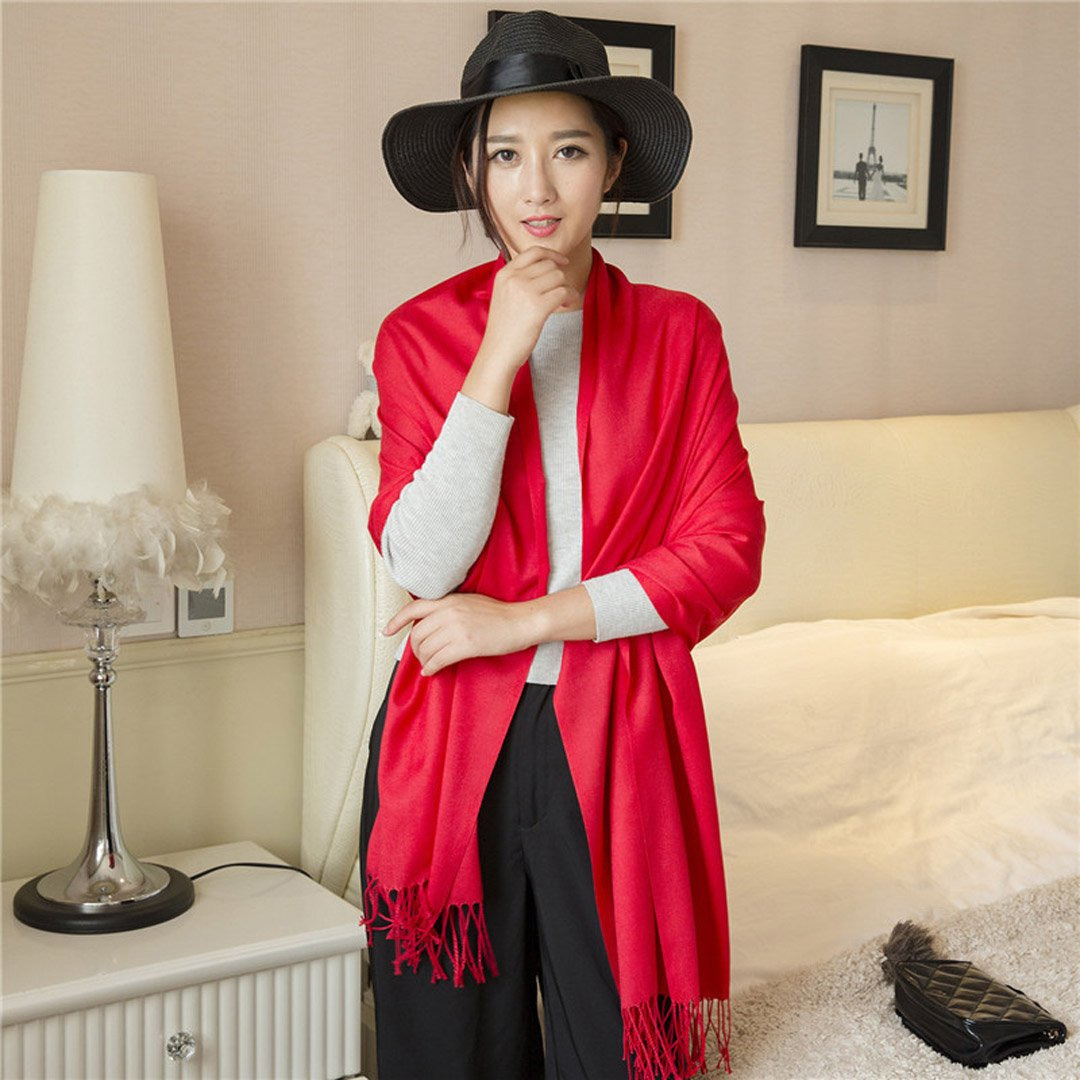 Soft Cashmere Blanket Scarf with Tassel Solid Color Warm Shawl Wrap for Women girls