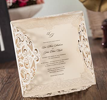 amazon com wishmade 1x laser cut lace invitations cards kit with