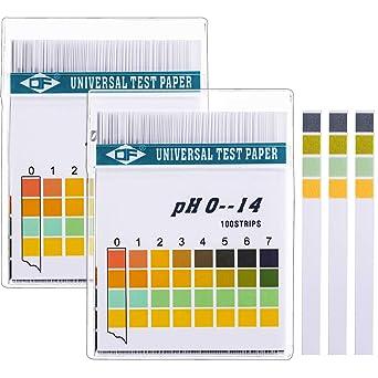 Tiras de Papel Reactivas de pH Universal para Probar Nivel de pH Alcalino Ácido Corporal, Cuidado de Piel, Acuarios, Agua Potable, con 4 Paneles de Prueba, Medir Rango Completo 0-14: Amazon.es: Industria,