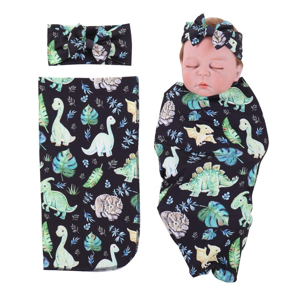 Baby Swadding Blankets Dinosaur Flamingo Newborn Receiving Blankets and Bow Headband Set (B)