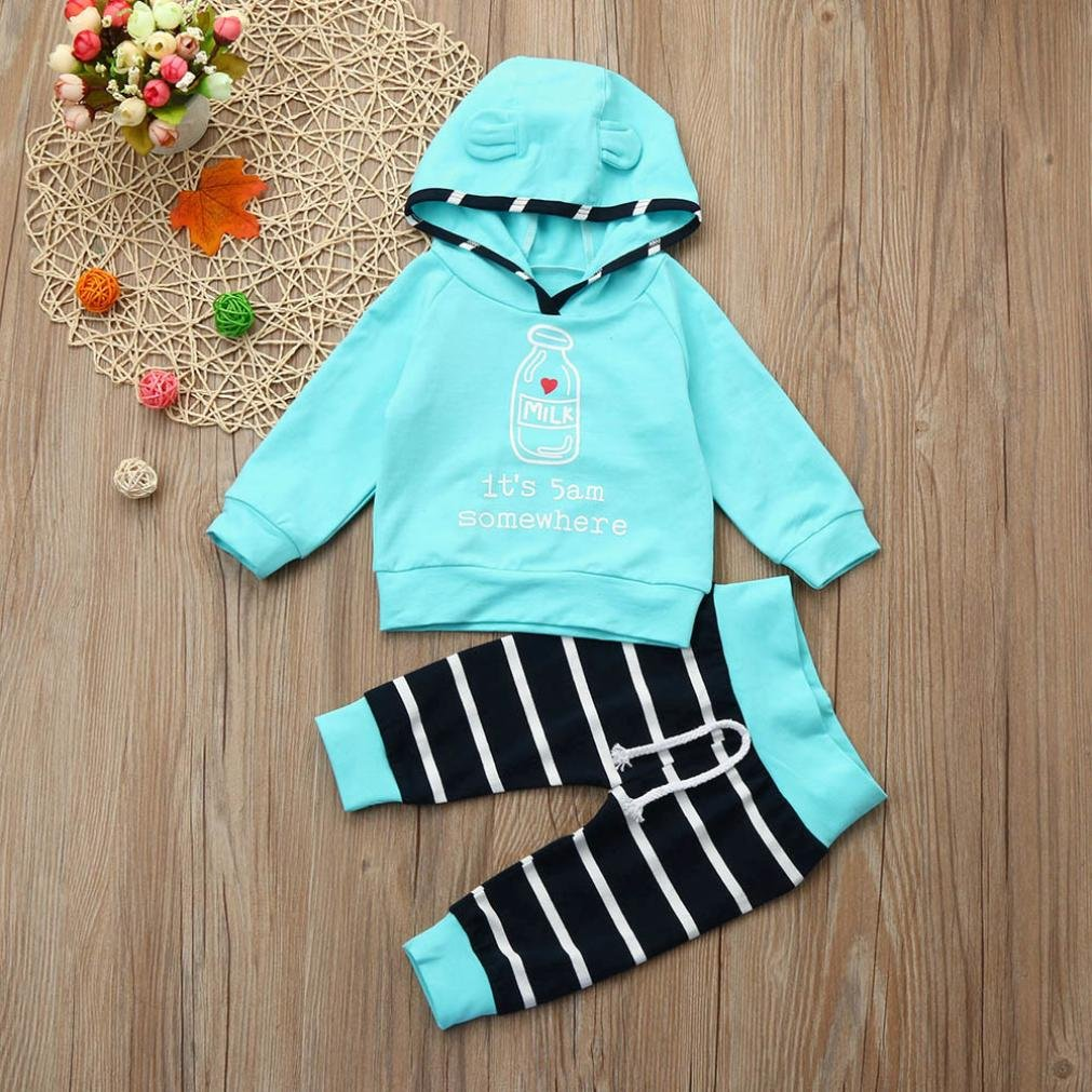 Digood For 0-18 Months Baby Toddler Newborn Baby Girls Boys Cute Cartoon Hooded+Pants 2Pcs Outfits