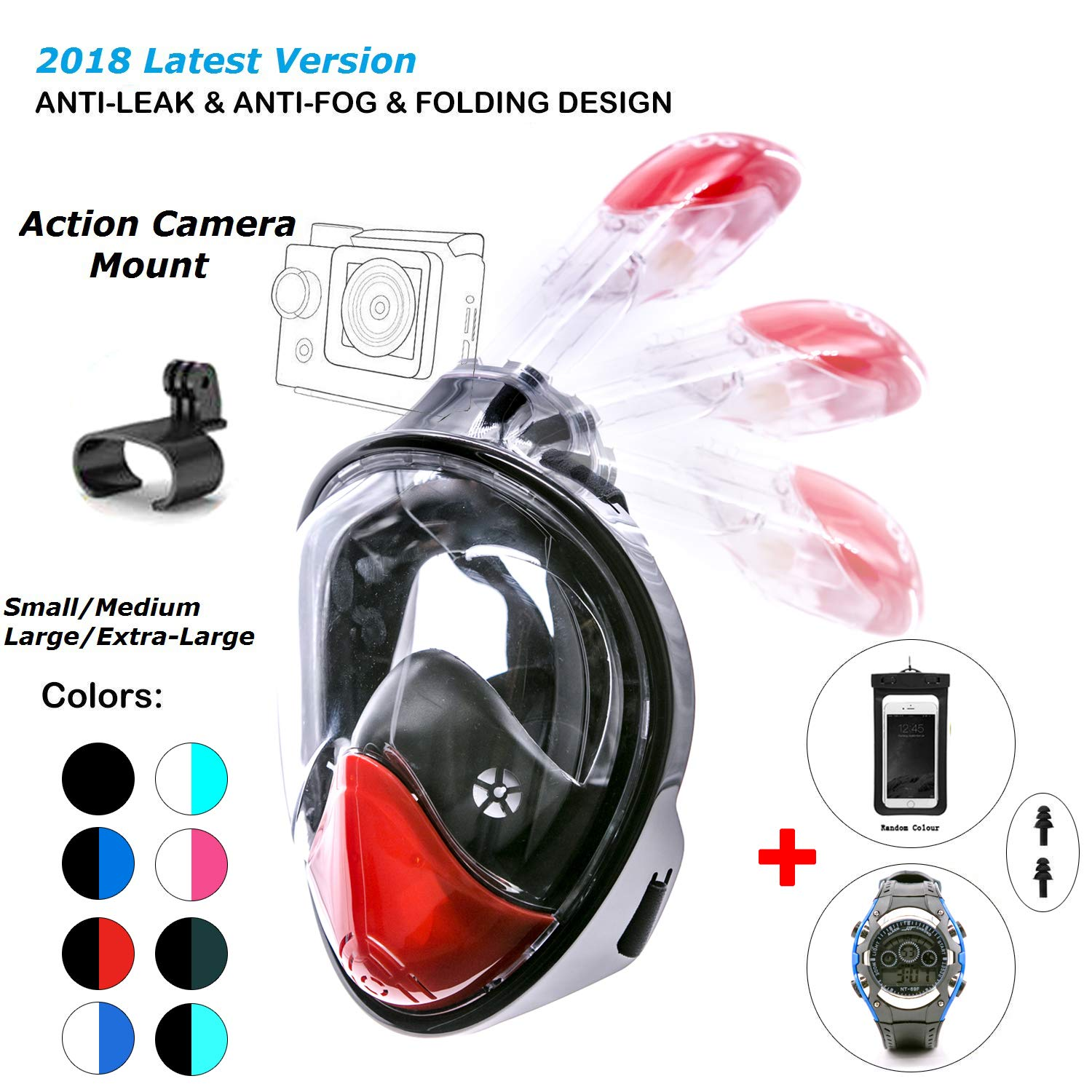 180° Snorkel Mask View for Adults and Youth. Full Face Free Breathing Folding Design.[Free Bonuses] Cell Phone Universal Waterproof Case and 30m Waterproof Watch (Black&Red, Small/Medium)