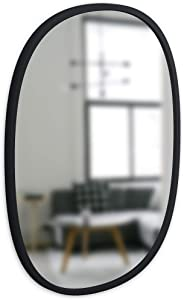 Umbra, Black Hub Oval, 18x24 Inch Decorative Hanging Protective Rubber Frame, Wall Mirror for Entryways, Bathrooms, Living Room, 18 x 24-Inch