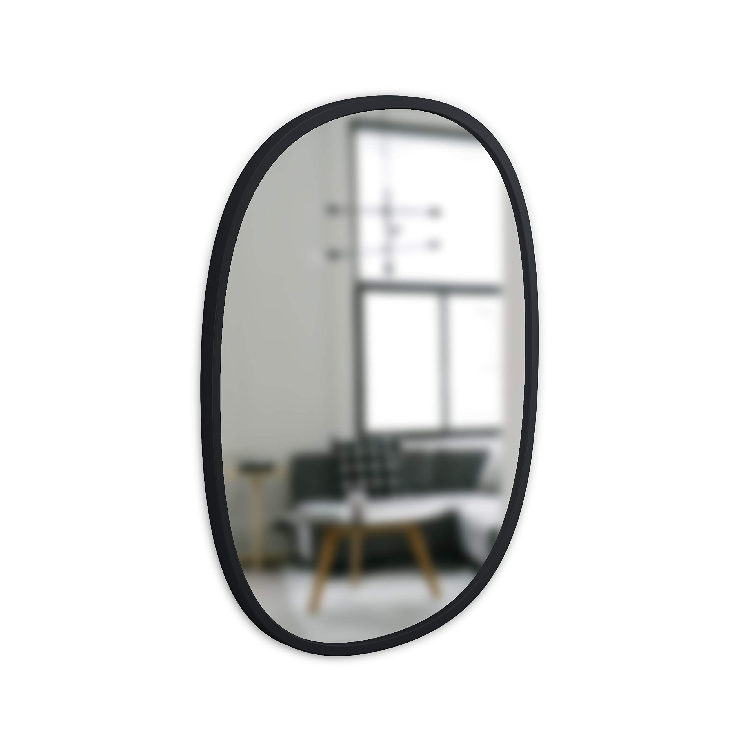 Umbra, Black Hub Oval, 18x24 Inch Decorative Hanging Protective Rubber Frame, Wall Mirror for Entryways, Washrooms, Living Room, 18 x 24-Inch by Umbra