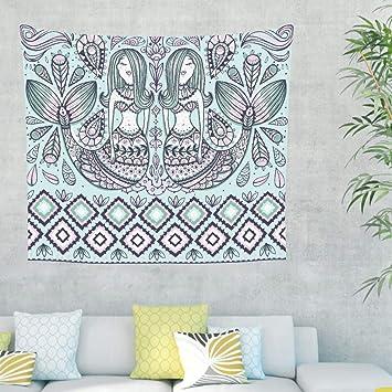 sirena geométrica pared tapiz colgante hippie bohemio paño pared tapiz tapicería pared decoración para dormitorio playa toalla mantel 100 x 150 cm azul: ...