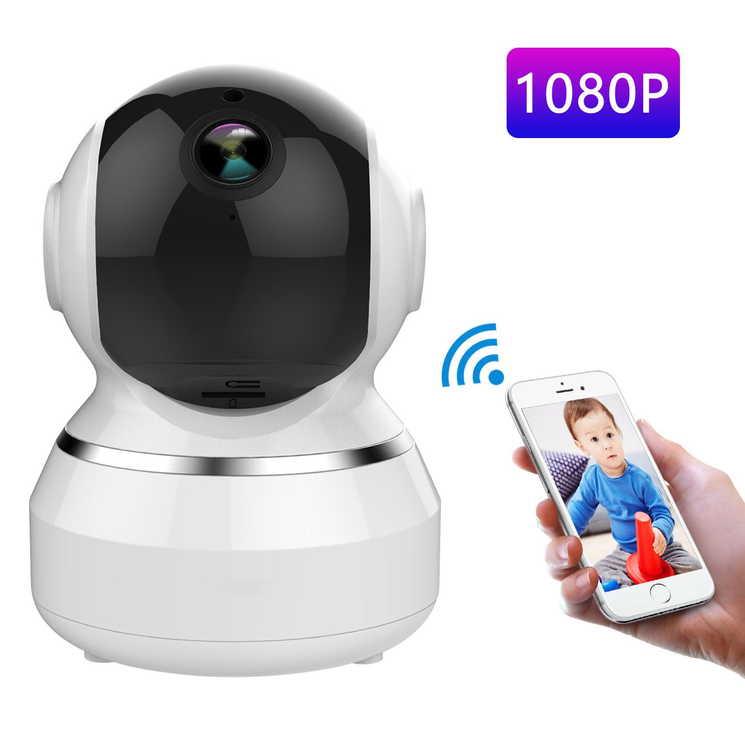 WONNIE 1080P HD WiFi IP Camera Wireless Indoor Camera with 2-Way Audio, Night Vision and Motion Detection, Home Security Surveillance Pan/Tilt/Zoom Monitor for Baby/Elder/Pet (White)