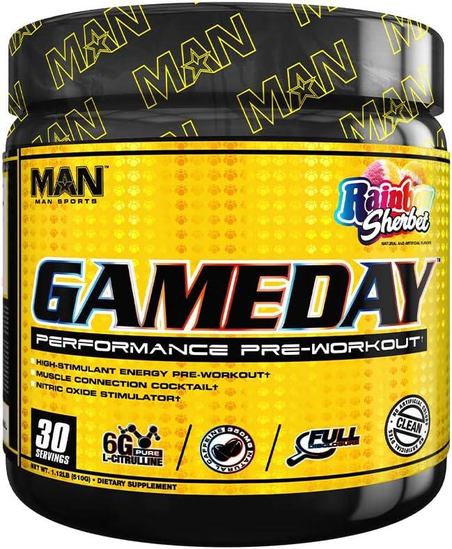 Man Sports Game Day Pre Workout Energy Powder, Rainbow Sherbet, 510 Gram, 30 Serving