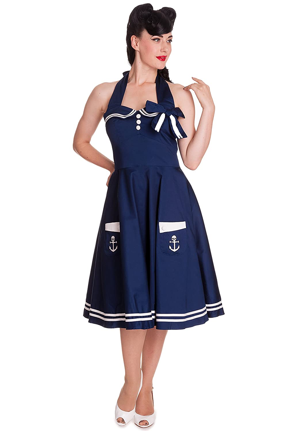 1940s Style Dresses | 40s Dress, Swing Dress Hell Bunny 50s Motley Pinup Sailor Vintage Sailor Swing Dress $85.00 AT vintagedancer.com