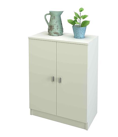 Samblo Melamine Floor Cabinet With 2 Doors 60 Cm Wide, White Color