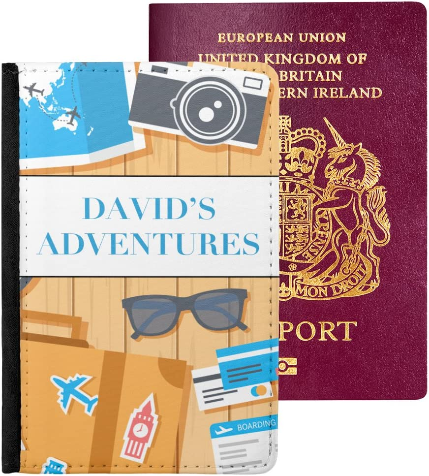 Personalized Transportation Genuine Leather Passport Cover