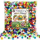 Caydo 2000 Pieces 20 Colors 1 cm Pompoms, Fuzzy Pom Poms Ball for DIY Art Craft Supplies