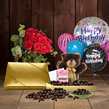18th Birthday Gift Basket Plush Teddy Bear Premium California Chocolate Coated Raisins 1 Lbs