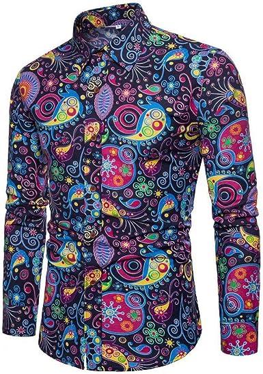 Camisa de Manga Larga con Estampado de Flores Funky Anti-Sudor para Hombres Camisa Jacquard de Seda/Lino de Corte Relajado Regalo para el Abuelo Padre día del Padre: Amazon.es: Ropa y accesorios