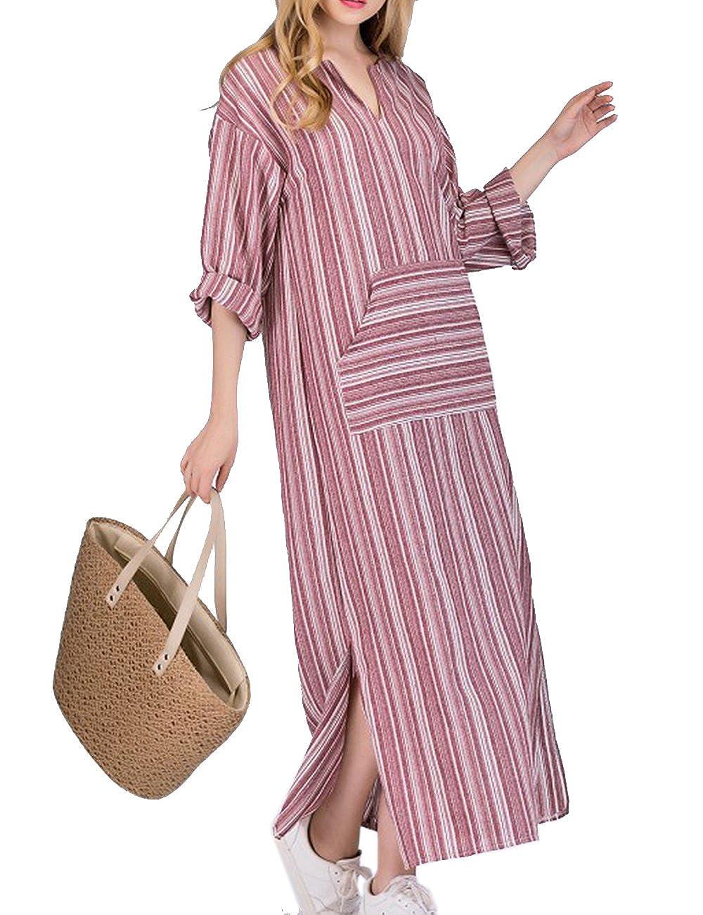 4904937de17b27 Kleider HAHAEMMA Damen Kleider Maxikleid Lose Kleid Langarm Retro Leinen  Baumwolle Lange Kleider Elegante Bluse Breite ...
