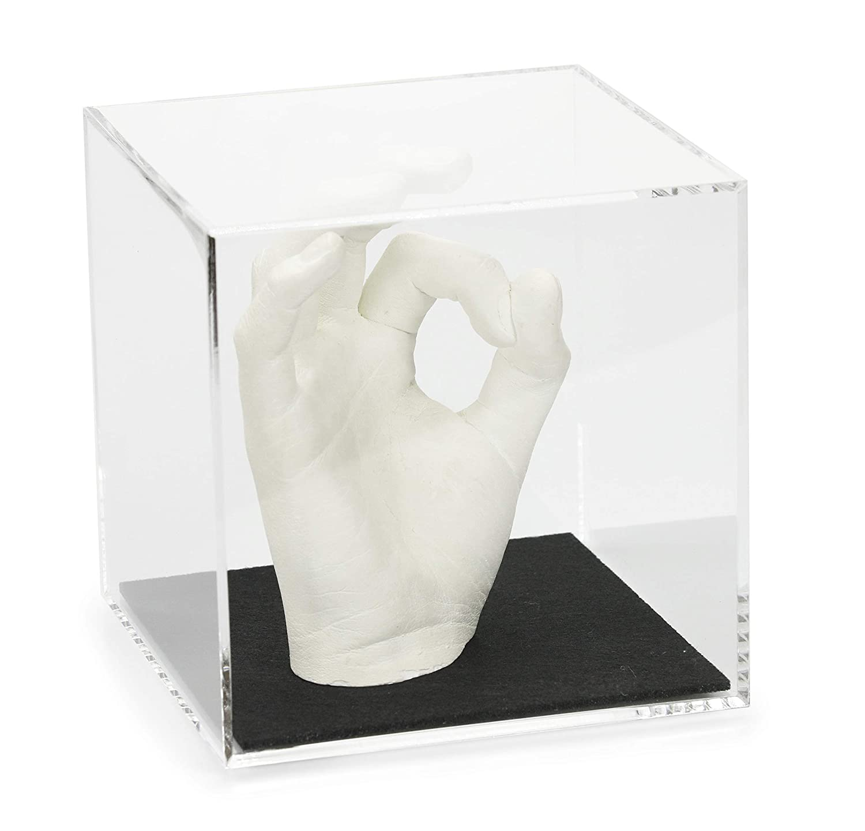 Lucky Hands Cubo in vetro acrilico con iscrizione (8,5 x 8,5 x 8,5 cm, Rosa) 3D Hand Design