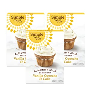 Simple Mills Almond Flour Baking Mix, Gluten Free Vanilla Cake Mix, Muffin pan ready, Made with whole foods 3 Count (Packaging May Vary)