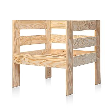 SUENOSZZZ - Sofa Jardin de Madera de Pino Color Natural, MEDITERRANEO Mod. sillón. Muebles Jardin Exterior. Silla para Patio y terraza. Sillon sin ...