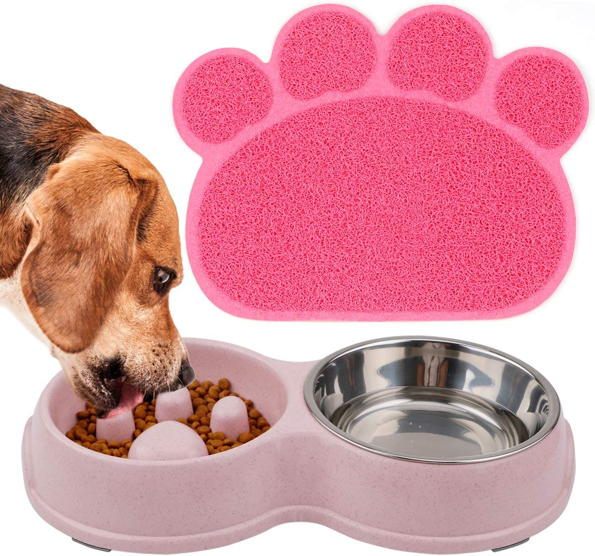 FPVERA Double Dog Cat Bowls with Slow Eating Design Pets Food Mat Feeding Water Bowl for Cats and Small Dogs