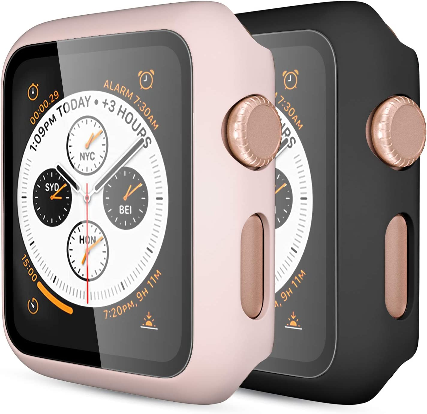 [2 Pack] GEAK Compatible with Apple Watch Case 38mm, Full Coverage Bumper Protective Case with Screen Protector for iWatch Series 3/2/1, Black/Pink