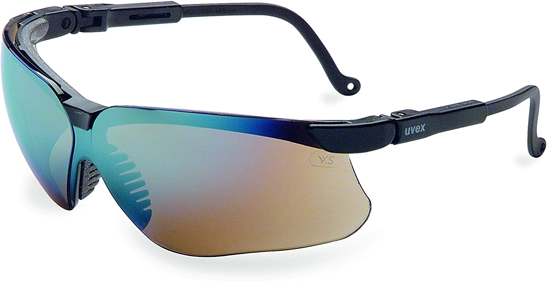Uvex S3203Genesis gafas de seguridad, marco negro, espejo de oro ultra-dura lentes lente