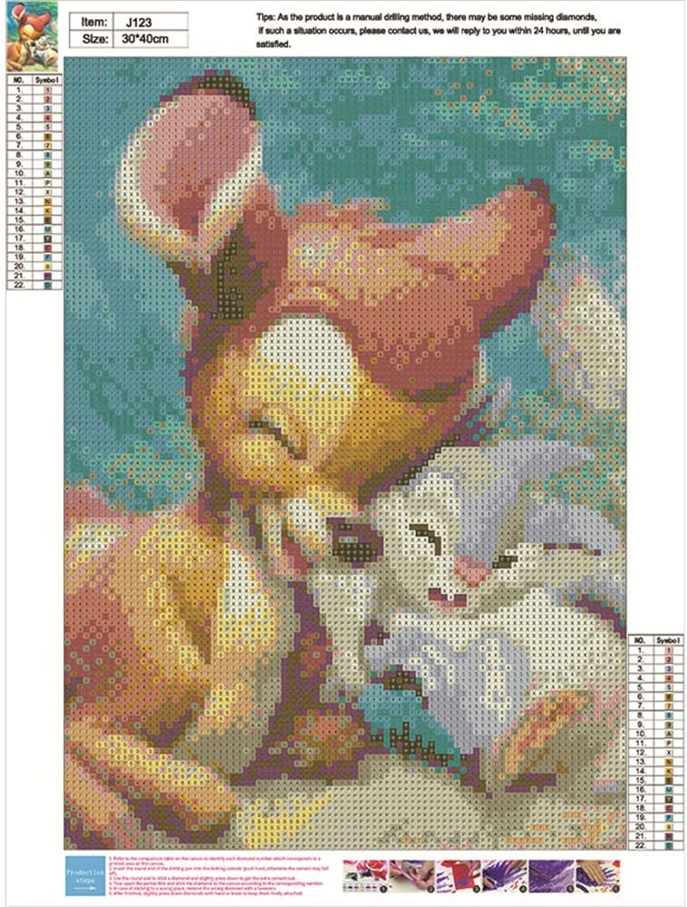 feilin Full Drill Painting Cross Stitch Crystal Rhinestone Embroidery Mosaic Picture Artwork Home Wall Decor Gift 11.8x15.7inch DIY 5D Diamond Painting Rabbit by Number Kits