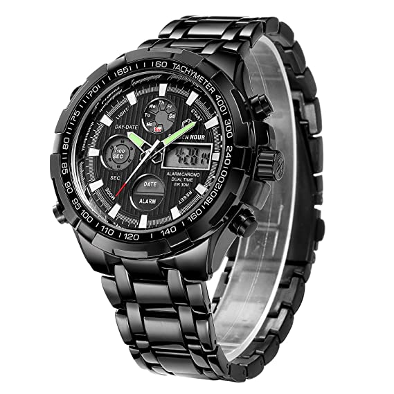 Relojes para Hombre Manera Reloj cronógrafo Pesado del Deporte del Acero Inoxidable Alarma de la Fecha Impermeable Reloj análogo Multifuncional de ...