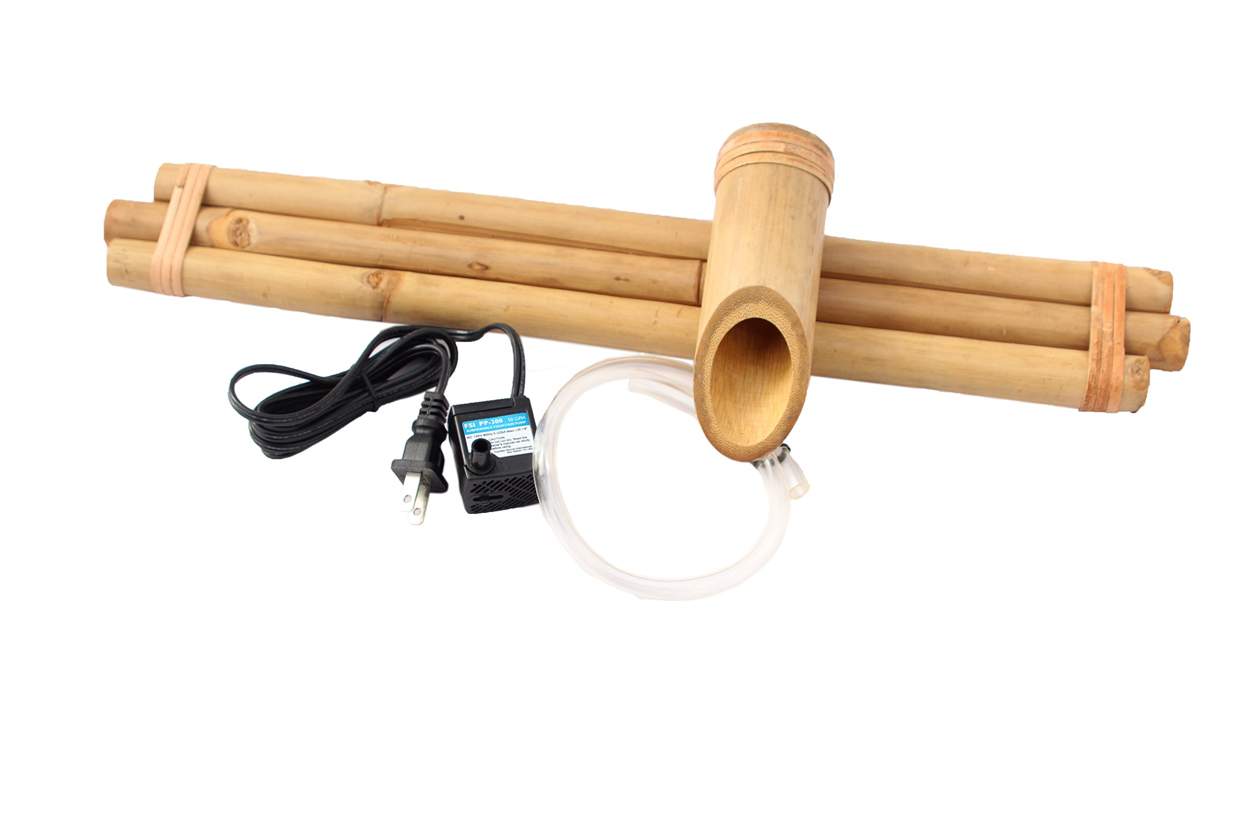 Bamboo Fountain with Pump Large 18 Inch Three Arm Style, Indoor or Outdoor Fountain, Natural, Split Resistant Bamboo, Combine with Any Container to Create Your Own Fountain, Handmade