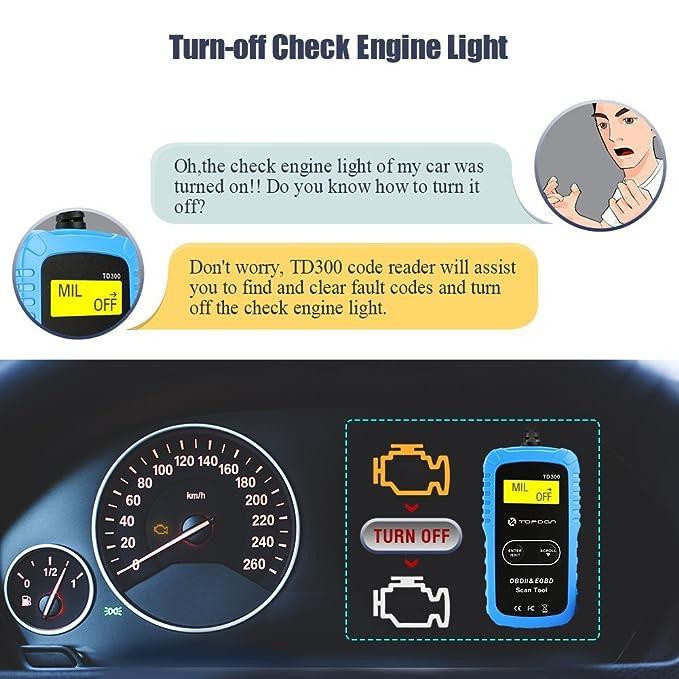 Amazon.com: TT TOPDON TD300 OBD2 Scanner, Car Code Reader Check Engine Light  Turn Off, I/M Readiness Status Monitoring Vehicle Info Retrieving:  Automotive