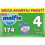Molfix 3D Bebek Bezi, Maxi 4 Beden, Mega Avantaj Paketi 174 Adet