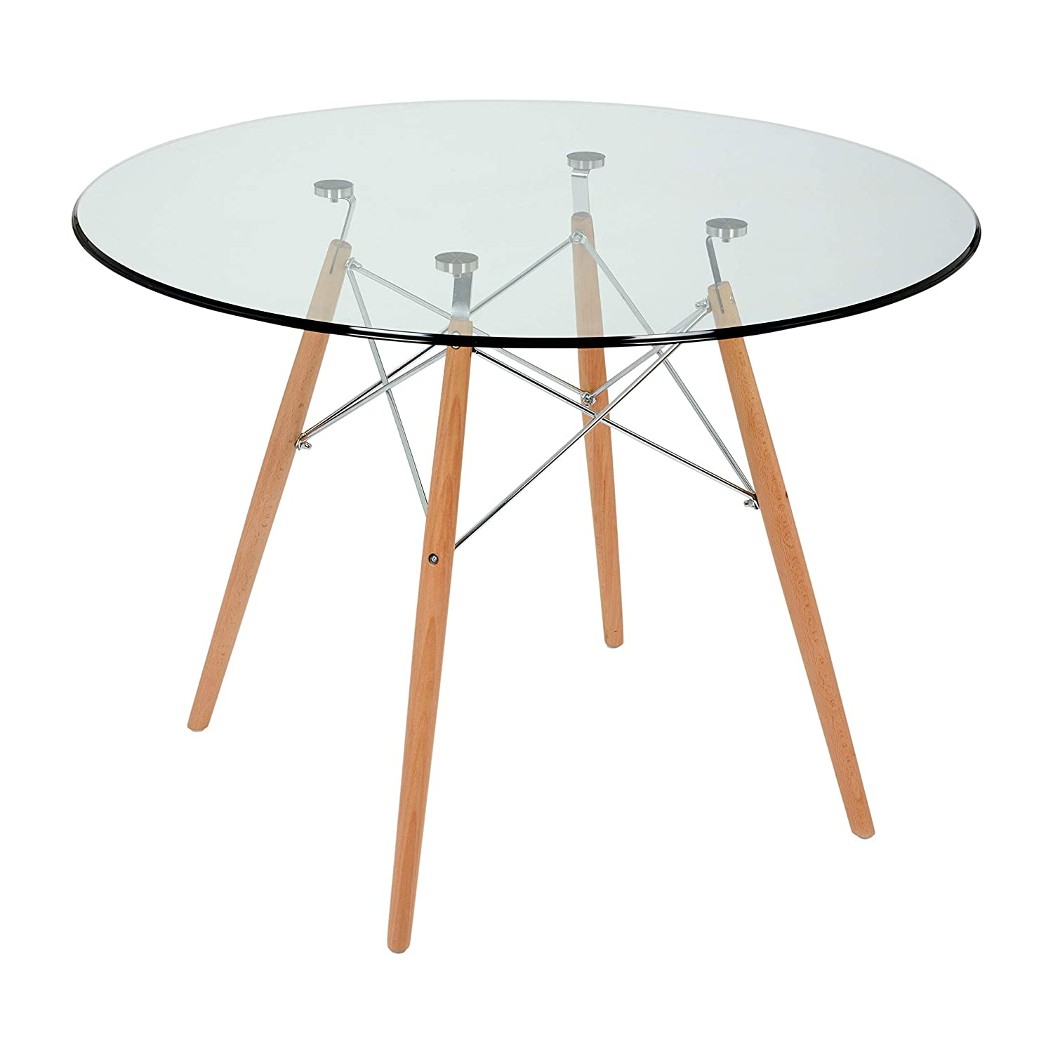 Fusionwell Dsw Style Dining Round Table Glass Top With Natural