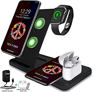 TWIXITECH Wireless Charging Station 4 in 1 for Apple products Multiple devices-2021 Inc 9V/3A Adapter,Qi Fast Wireless Charger Stand Dock Apple Watch SE/6/5/4/3/2, AirPods Pro/2,iPhone 12/11/Pro Max X
