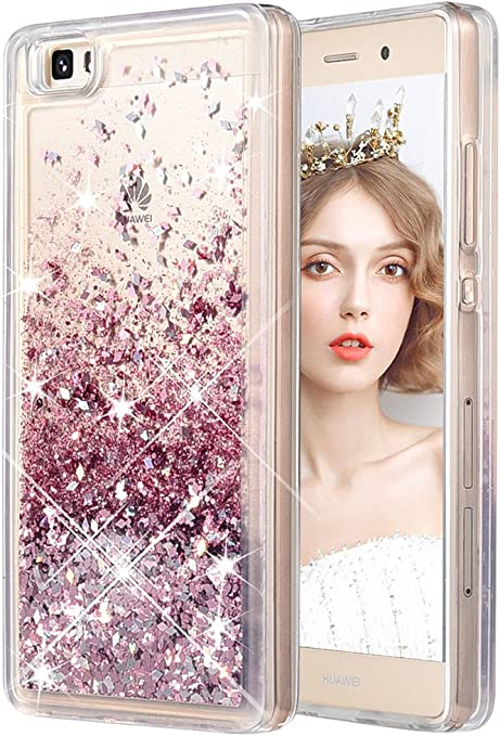 wlooo Cover per Huawei P8 Lite, Huawei P8 Lite Cover, Glitter Bling Liquido Custodia Sparkly Ragazze Donne Luccichio TPU Silicone Protettivo Morbido ...