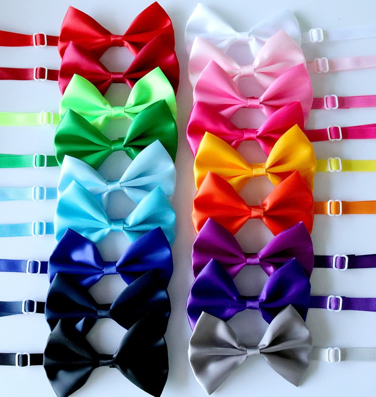yagopet 20pcs Pet Dog Bow tie Dog Bowtie Collar Mix 18 Colors Solid Dog Ties Adjustable Pet Pet Collars Dog Grooming Accessories
