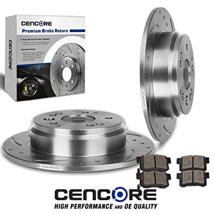 Amazoncom CENCORE Rear Kit Combo Brake Kit Drilled Slotted - 2003 acura tl rotors