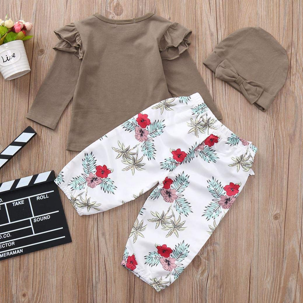 kaiCran Baby Clothes Girl,Long Sleeve Solid Color Ruffled Top Flower Print Pants Three-Piece Outfits Clothes Set Baby Girls