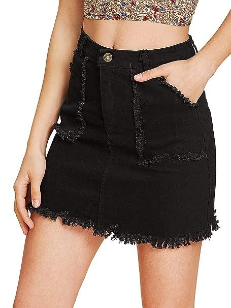cd40d5f0a Insia Brand Women's Casual Distressed Ripped A-Line Raw Hem Denim Short  Skirt (Black