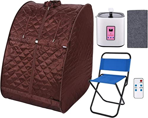 KGK Portable Steam Sauna Spa, 2L Personal Therapeutic Sauna for Weight Loss Detox Relaxation, Single-Use Home Sauna Spa Tent with Remote Control, Foldable Chair, Timer Brown