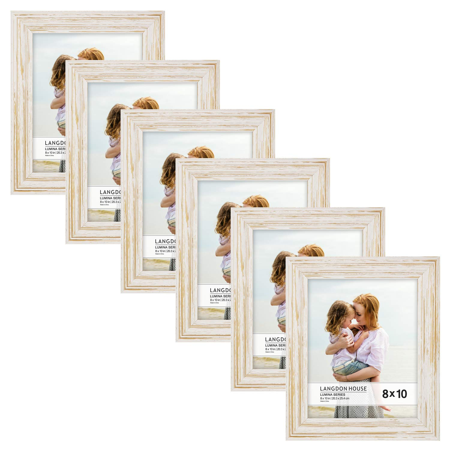 Langdon House 8x10 Real Wood Picture Frames (6 Pack, Weathered White - Gold Accents), White Wooden Photo Frame 8 x 10, Wall Mount or Table Top, Set of 6 Lumina Collection by Langdon House