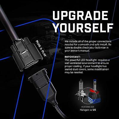 8000LM H11/H8/H9 LED Headlight Bulbs Conversion Kit leppein S ...