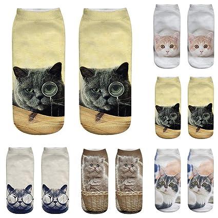 Nacome_Promotion - Calcetines Tobilleros para Gato, diseño de Huellas de Animales, 5 Unidades