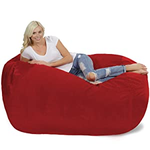 Chill Sack Bean Bag Chair: Huge 6' Memory Foam Furniture Bag and Large Lounger - Big Sofa with Soft Micro Fiber Cover - Red Pebble